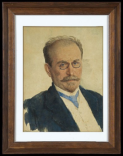 Makowski Władimir Jegorowicz - PORTRAIT OF A MAN (ARTIST BROTHER?), 1890, watercolour, pencil, paper