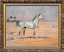 Kossak Jerzy - WHITE ARAB, BEFORE / OR 1936, oil, plywood