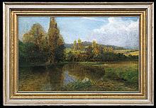 Podkowiński Władysław - AT THE POND, CIRCA 1893, oil, canvas