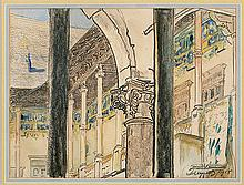 Wyczółkowski Leon - THE CLOISTERED WALKWAYS OF THE ROYAL CASTLE, 1918, crayon, watercolor, paper
