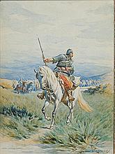 Szerner Władysław - TROOPER, BETWEEN 1885-1890, watercolour, paper