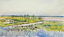 Fałat Julian - FLOOD WATERS IN THE VILLAGE OF OSIEK, 1917, watercolour, paper