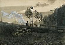 Rapacki Józef - LEAVING TRAIN, 1903, ink, gouache, paper