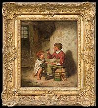 Roberts Edwin Thomas - CHILDREN WITH GOLDFINCH, oil, board