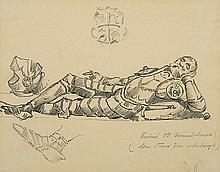 Wyspiański Stanisław - RENAISSANCE SCULPTUR STUDY, 1887, pencil, ink, paper