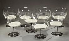 Erwine(1909-2003)et Estelle LAVERNE (1915-1998)  Suite de huit chaises piv