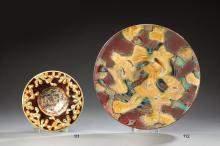 KELLER & GUERIN <br> à LUNEVILLE <br> Plat circulaire en céramique émaillée poly