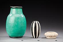 JEAN CHARLES CAZIN (1841-1901) <br> Coupe en grès recouvert d'émail ivoire à déc