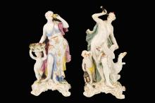 2 Meissen Style Figural Porcelain Groups