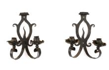 Pair, French Gothic Style Wrought Iron Sconces
