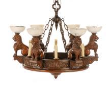 Renaissance Revival Mahogany Lion Motif Chandelier