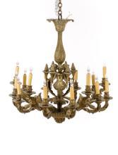 French Regency Style Gilt Bronze Chandelier