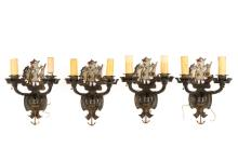 Set of Four Painted Metal Ship Motif Wall Sconces