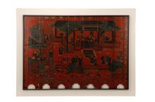 Chinese Red & Black 7 Panel Screen in Shadowbox