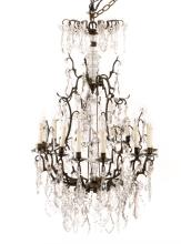Baroque Style Bronze & Crystal Chandelier, 20th C.