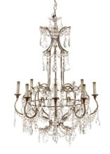 Italian Iron And Crystal Chandelier, 19th C.