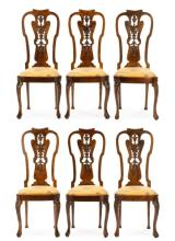 Set of 6 Continental Queen Anne Style Side Chairs