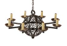 French Wrought Iron Eight Light Chandelier