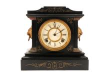 Ansonia Iron And Gilt Accented Lion Mantel Clock