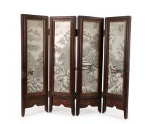 Chinese Signed 4 Panel Table Screen, Snowy Village