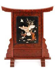 Chinese Red Lacquered Screen with Bird Motif