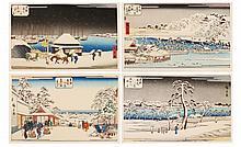 Portfolio of 4 Woodblock Prints After Hiroshige