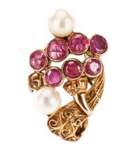 Ladies Handmade 18k Yellow Gold, Ruby & Pearl Ring