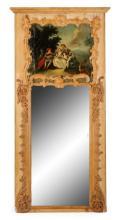 Monumental French Louis XV Wood Trumeau Mirror