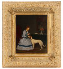 Woman And Dog Genre Scene, Signed, 19th C.