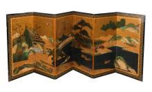 Kano School Hand Painted Screen, Edo Period