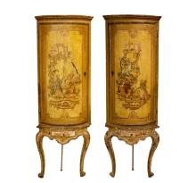 Pair, Rococo Polychrome Corner Cabinets on Stands