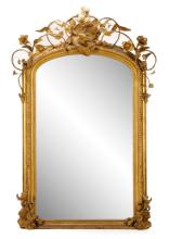 Ornate Giltwood Pier Mirror With Eagle, 19th C.