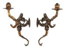 Pair of 19th C. Parcel Gilt Bronze Harpy Sconces