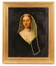 Continental Portrait of Woman with Veil, 19th C.