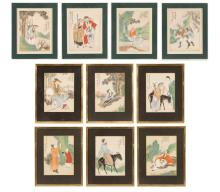 Ten 19th C. Chinese Woodblocks with Watercolor
