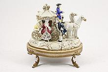 Dresden Porcelain Horse Drawn Carriage Scene