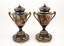 Pair of Royal Vienna Lidded Urns, Claudius Herr