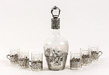 Sterling Overlay Decanter & 6 Glass Cordial Set