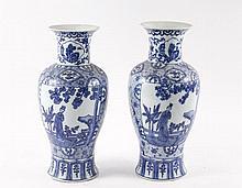 Pair of Chinese Blue & White Baluster Vases