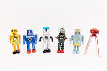 Group of Six Contemporary Collectible Robots