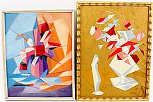 Two Cubist Floral Still Life Paintings, Signed