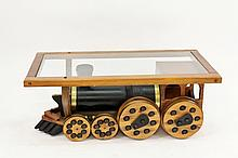 Train Motif Oak & Glass Coffee Table