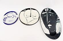 Group of Three Abstract Figural Porcelain Plates