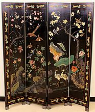 Chinese Lacquered Four Panel Screen