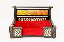 Hand Painted & Mosaic Decorated Wood Dog Bed