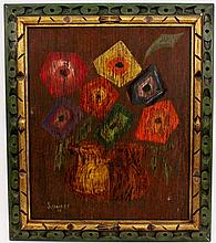 Primitive Folk Art Floral Still Life, Signed