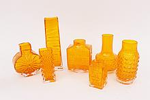 Seven Baxter for Whitefriars Tangerine Art Glass V