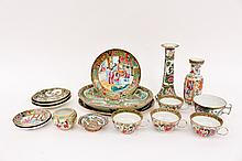 15 Pieces of Chinese Rose Medallion Porcelain
