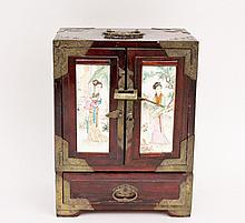 Chinese Jewelry Box with Porcelain Decoration