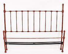 King Size Red Painted Cast Iron Bed Frame